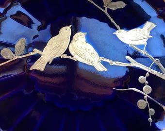 Sale ANTIQUE MINTON PLATES, Ten Amazing Gold Birds Atop Deep Indigo Blue Plates, Circa 1880's, Extraordinary Collectible Plates