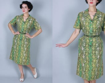 1950s River Stones dress | vintage 50s cotton shirtwaist day dress with abstract geometric green print | large