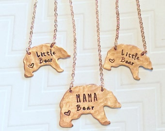Mama Bear Little Bear Necklace Set - Hand Stamped - Mothers Day Gift - Gift For Her - Gift For Mom - Copper Bear - Heart
