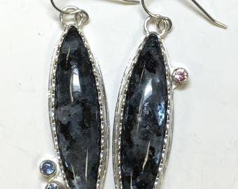 Larvikite and Sapphire Earrings