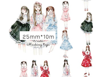 1 Roll of Limited Edition Washi Tape: Lolita Girls