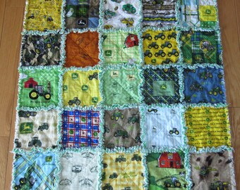 Baby Rag Quilt All Different JOHN DEERE Fabric on Front 25 Different Fabrics