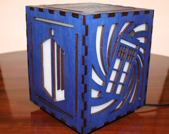 Doctor Who Lasercut Wooden Electric Box Lamp