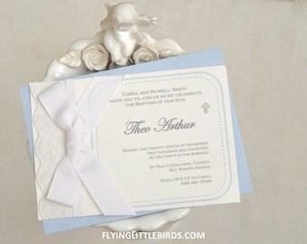 Handmade Baptism Lace Invitation - Christening Invites (set of 25 invitations)