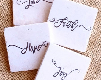 Christian Coasters- Christian Decor, Faith, Hope, Love, Christian Gift, Joy, Faith Decor, Coaster, Tile, Gift, Hope Decor, Hope Gift