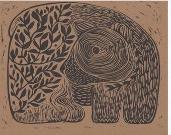 Black Bear Linocut Print