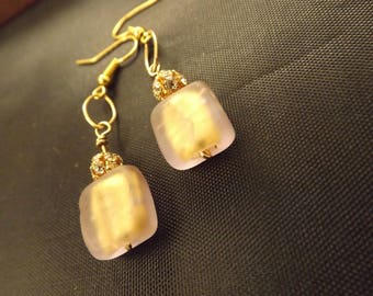 The Mitzi's Earrings. Gold Frosted Square & Rhinestone Earrings