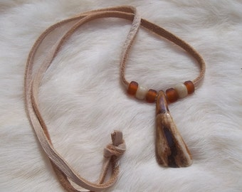 BUFFALO TOOTH NECKLACE Cream and Brown Tribal Necklace Southwestern