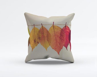Minimal Fall Leafs Pillow Cover 15 x 15 inch, Yellow cushion cover, Decorative Pillow Cover, Home decor