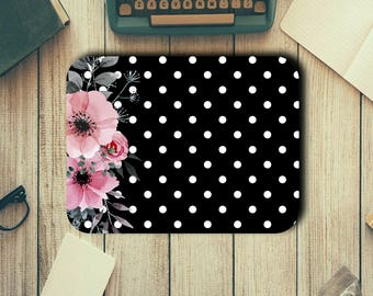 Flowers and Dots Neoprene Mouse Pad Novelty Gifts Home Office Decor