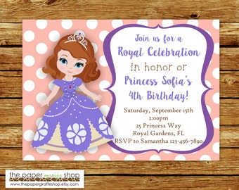 Invitación de Princesa Sofía | Fiesta de cumpleaños de Princesa Sofía | Invitación princesa | Fiesta de princesa | Princesa Sofia partido | Sofia la primera