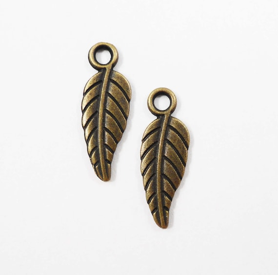 Antique Brass Leaf Charms 19x7mm Bronze Metal Leaf Charms, Bronze Feather Charms, Small Leaf Pendants, Jewelry Making Findings, 15pcs