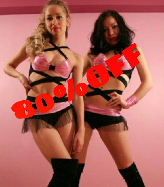 Sexy Black and Pink go go club dance showgirl costume with straps, tutu skirt and mini gloves