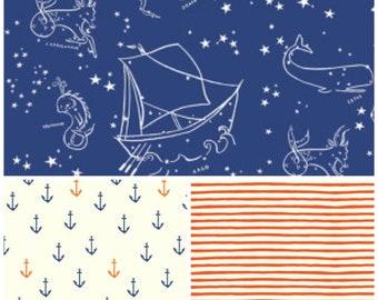 Organic Crib Sheet, Mini Co-Sleeper, Co-Sleeper, Pack n Play, Mini Crib, Fitted Crib Sheet, Nautical Crib Sheet, Saltwater, Anchors