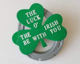 Vintage Luck of the Irish plastic shamrock pin