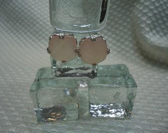 Cushion Cut Pink Botswana Agate Earrings in Sterling Silver   #1946