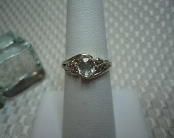 Oval Cut White Ceylon Sapphire Ring in Sterling Silver  #1992