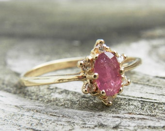 Ruby Engagement Ring 14K Ruby Ring Genuine Diamond Halo Ring July Birthday Unique Engagement Ring July Birthday Gift for Women