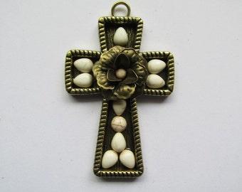 Bronze Cross pendant with magnesite white stones #RM117