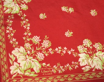 Vintage Liberty of London Silk Scarf, Raspbery Red with Green Leaves, Collectors Scarf, 1960s