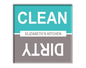 Personalized Clean Dirty Dishwasher Magnet - Turquoise - Custom Design with Your Text - Housewarming Gift Idea - Ships in 1 Business Day!