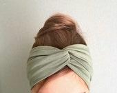 Olive Green Turban, Twist Headband, Hair Accessory, Best Selling, Women's Headwraps, Fashion Turband twisted center, Hair wrap Yoga headband
