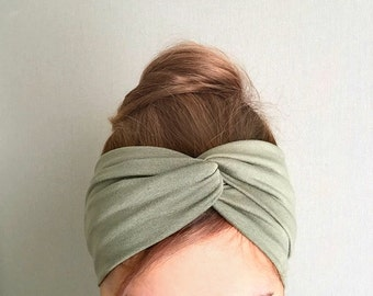 Olive Green Turban, Twist Headband, Hair Accessory, Best Selling, Women's Headwraps, Fashion Turband twisted center, Hair wrap Yoga headband
