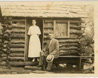 Cabin Couple RPPC Circa 1910 - Log Cabin Antique Postcard