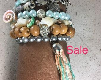 Tassel Bracelet, Multi strand Stretch Bracelet, Bohemian Multi strand Beaded Bracelet, BOHO Tassel Bracelet, Charm Bracelet, set of 6
