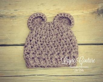 Handmade Newborn Teddy Bear Hat / Teddy Bear Photo Prop