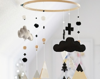 Ready to Ship!! Black and White - Swiss Alps Monochrome themed nursery mobile!