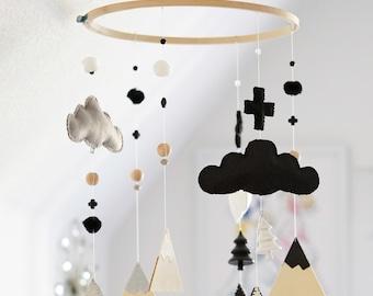 Monochrome Baby / Black and White / Nursery Mobile Decor / Mountain and Cross Theme