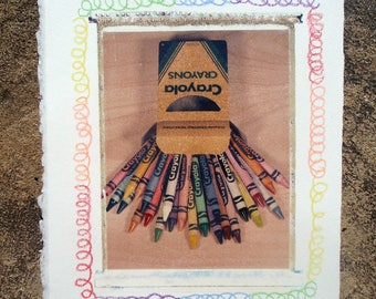 "fine art photography original 4x5 polaroid transfer ""Crayons"""