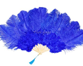 """24""""x 43"""" Royal blue Marabou & Ostrich Feathers Hand Fan With Bamboo Staves Burlesque Dance"""