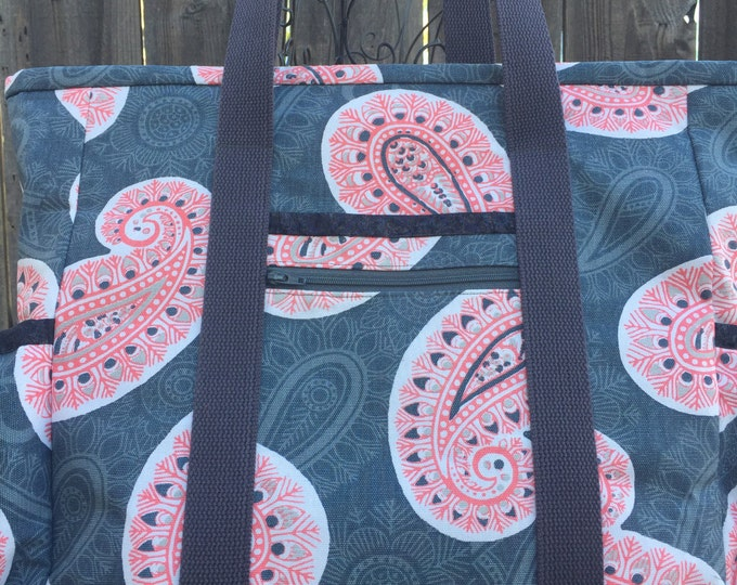 Tote Bag with Pockets, Teacher Tote, Nurse Bag, Tote Bag with Zipper, Diaper Bag, Work Tote, Professional Tote, Grey and Coral Paisley