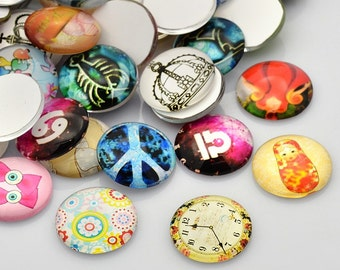 Glass Cabochons Round Glass Cabochons Assorted Cabochons 20mm Cabochons Printed Cabochons Domed Cabochons Wholesale Cabochons Glass Flatback