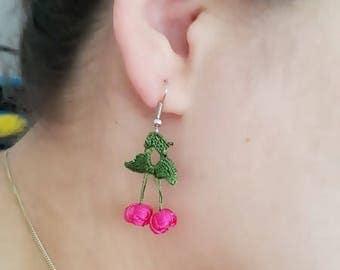 EARRINGS - Pink Crochet  cherry earrings Summer jewelry trends pink and dark green Gift for her Boho Hippie style  Drop dangle earrings