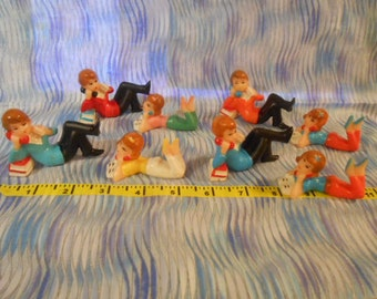 Four Sets Of Wilton Teenagers On The Phone Cake Toppers-Vintage