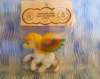 Vintage- Pony With Rainbow Wings Cake Topper-Old Store Stock