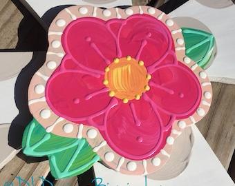 Spring flower door hanger attachment