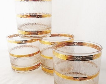 """ON SALE Vintage, Culver 22K-Gold Banded """"Icicle"""" Starlyte raised etched icicles, Set of 4,lowball, Whisky, Rocks, Mid Century Modern"""