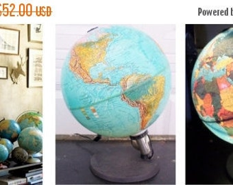 "ON SALE Vintage, Scan Globe A/S. Edition 1985 Gb. Made in Denmark, 12"", Illuminated, World, Globe,  World Globe, Blue, Collectibles, Lighted"