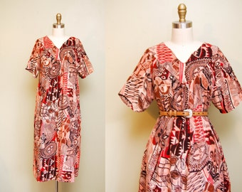 Vintage Indian Cotton Midi Dress / Red Graphic Print Kaftan / BOHO Hippie Festival Dress / Free Size