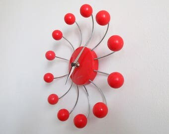 Vintage KARLSSON Dutch Red Atomic Ball Wall Clock - Atomic Ball Wall Clock - Red Ball Spider Clock - Great Working Condition