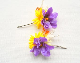 purple yellow daisies bobby pins, bridal weddings accessories, bridal purple flowers hair clip, bridesmaids flower girls daisy bobby pins