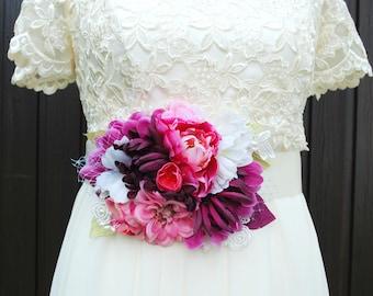 Purple Pink Chrysanthemum Bridal Sash, Pink Peony Flower Sash, Weddings Accessories, Bridesmaids Sash, Maternity Sash, Pregnancy Photo Prop