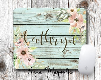Watercolor Pink Flowers - Weathered Wood - Monogrammed Mouse Pad - Desk Accessory - Personalized Mouse Pad