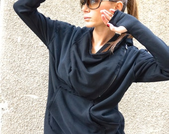 NEW Fall Black Extravagant Asymmetric Cotton Hooded Sweatshirt /Thumb holes Sexy zipper front / Large Front Pocket  by AAKASHA A08533