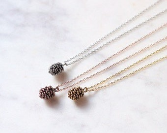 Unique Rose Gold Pinecone Necklace Custom Length Holidays Christmas Jewelry