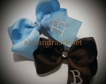 Embroidered Letter B Initial Monogram Hair Bow Girls Toddler Tween Hair Bow Simple Bows Everyday Hair Bows School Spring Summer Hair Bows